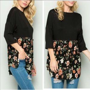 Black Floral Babydoll Tunic